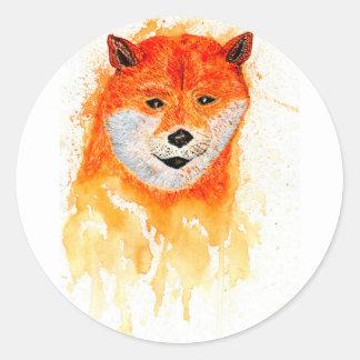 Pegatina Redonda Retrato de Shiba Inu