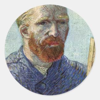 Pegatina Redonda Retrato de uno mismo de Van Gogh