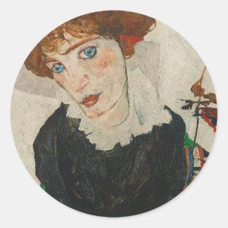 Pegatina Redonda Retrato de Wally de Egon Schiele