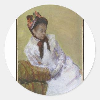 Pegatina Redonda Retrato del artista - Mary Cassatt