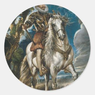 Pegatina Redonda Retrato ecuestre del duque de Lerma - Rubens
