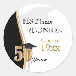 Pegatina Redonda Reunión de antiguos alumnos de 50 años en oro y