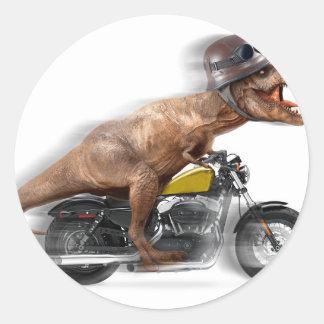 Pegatina Redonda Rex del motocicleta-tyrannosaurus-t del rex de T -