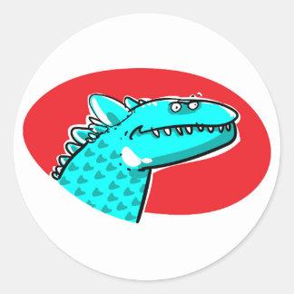 Pegatina Redonda rex o algo similar del tyrannosaurus dibujo