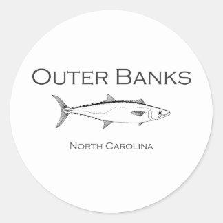 Pegatina Redonda Rey caballa de Outer Banks Carolina del Norte