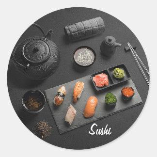Pegatina Redonda Ritual del japonés del sushi