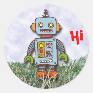 Pegatina Redonda Robot