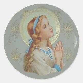 Pegatina Redonda Rogación bendecida jóvenes de Maria de la madre