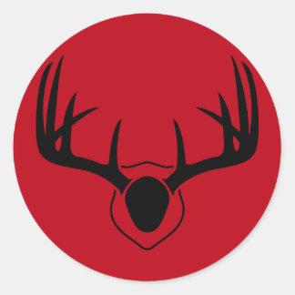 Pegatina Redonda Rojo de la asta de los ciervos