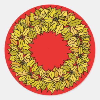 Pegatina Redonda Rojo - guirnalda del navidad del oro