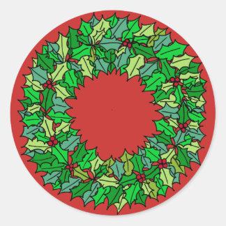 Pegatina Redonda Rojo - guirnalda verde del navidad