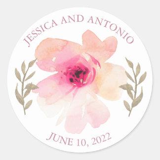 Pegatina Redonda Romántico se ruboriza el boda rosado de la flor