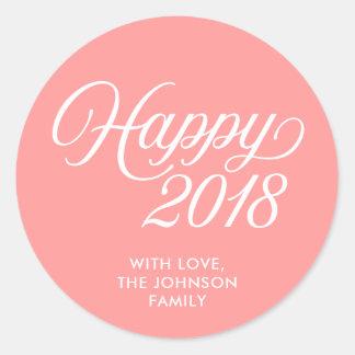 Pegatina Redonda Rosa coralino del Año Nuevo 2018 felices cursivos