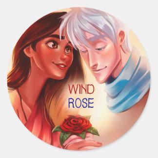 Pegatina Redonda Rosa de viento, cubierta de la primavera