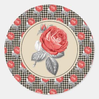 Pegatina Redonda Rosas del vintage y modelo rosados del houndstooth