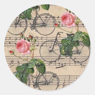 Pegatina Redonda Rosas y bicicletas rosados del vintage