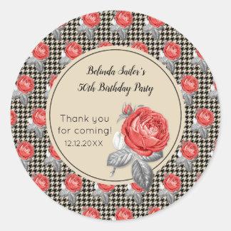 Pegatina Redonda Rosas y fiesta de cumpleaños del diseño del