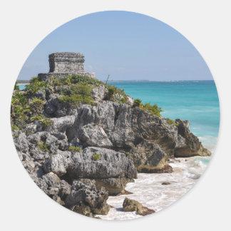 Pegatina Redonda Ruinas mayas en Tulum México