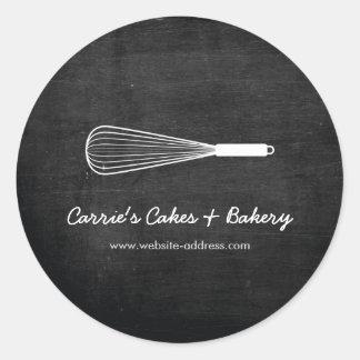 Pegatina Redonda Rústico bata la panadería del logotipo, pegatinas