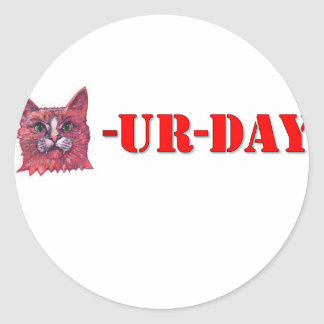 Pegatina Redonda Sábado es Caturday