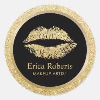 Pegatina Redonda Salón de belleza de los labios del brillo del oro