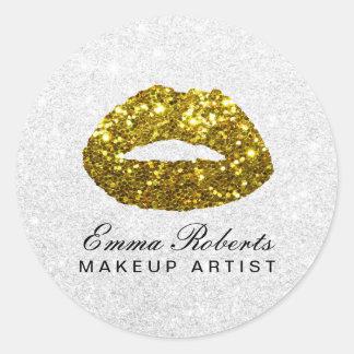 Pegatina Redonda Salón de belleza elegante de los labios del brillo