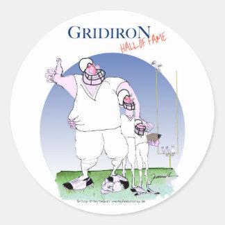 Pegatina Redonda Salón de la fama del Gridiron, fernandes tony