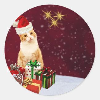 Pegatina Redonda Saludos lindos de las Felices Navidad del gato