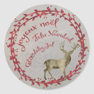 Pegatina Redonda Saludos multi del navidad de los ciervos del