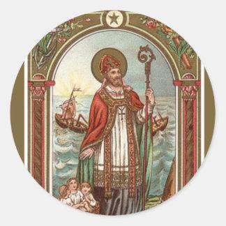 Pegatina Redonda San Nicolás del obispo de Myra