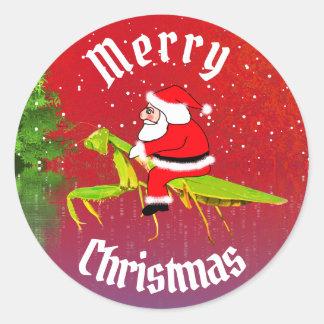 Pegatina Redonda Santa en los pegatinas del navidad de la mantis