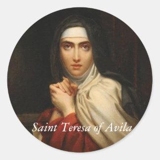 Pegatina Redonda Santo Teresa de la monja carmelita de Ávila
