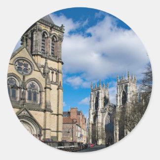Pegatina Redonda Santo Wilfrids e iglesia de monasterio de York