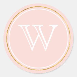 Pegatina Redonda Se ruboriza el falso monograma rosado del oro