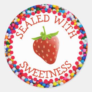 Pegatina Redonda Sellado con los pegatinas de la fresa del dulzor