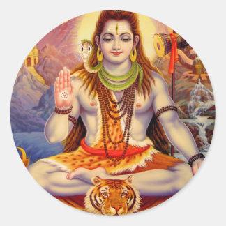 Pegatina Redonda Señor Shiva Meditating Sticker
