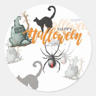 Pegatina Redonda Sepulcro de la araña de Halloween