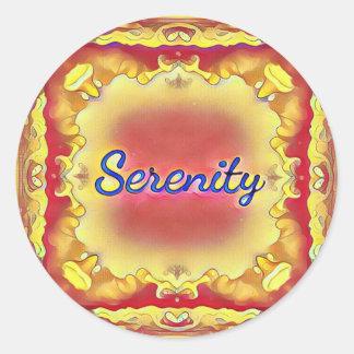 Pegatina Redonda Serenidad enmarcada inspirada amarilla color de