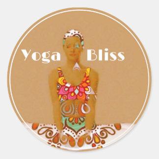 Pegatina Redonda Serie de la dicha de la yoga