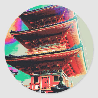 Pegatina Redonda Serie psicodélica de la pagoda de Japón