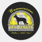 Pegatina Redonda Servicio del taxi de Beauceron