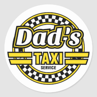 Pegatina Redonda Servicio del taxi del papá - pegatinas divertidos