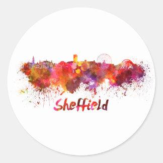 Pegatina Redonda Sheffield skyline in watercolor