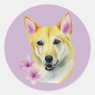 Pegatina Redonda Shiba Inu con la pintura de la acuarela de Sakura