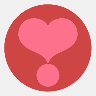 Pegatina Redonda Signo de exclamación en forma de corazón