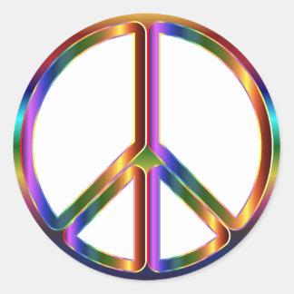 Pegatina Redonda Signo de la paz colorido