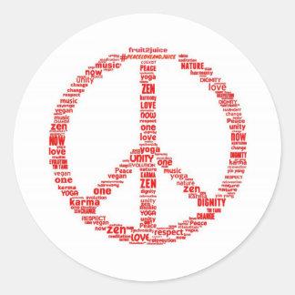 Pegatina Redonda Signo de la paz con los mensajes