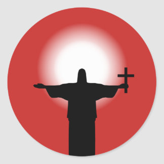 Pegatina Redonda Silueta con una cruz