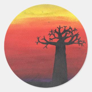 Pegatina Redonda Silueta del baobab