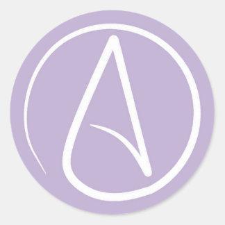 Pegatina Redonda Símbolo ateo: blanco en la lavanda